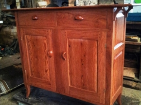 Hall cabinet - ironbark, with doors featuring floating panels made from allocasuarina