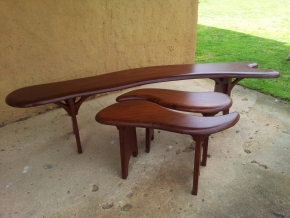 Curved Ironbark bench and leaf seats