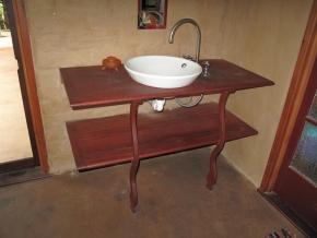 Bathroom vanity shelving in ironbark